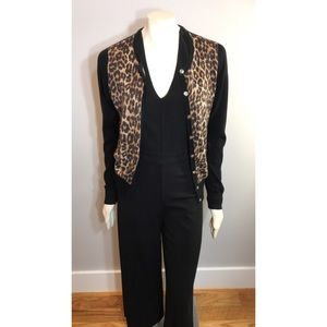 Ann Taylor Color Block Leopard Print Sweater Med